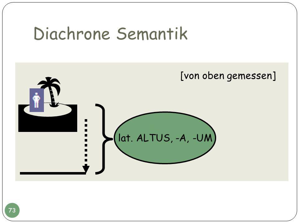 Diachrone Semantik  [von oben gemessen] lat. ALTUS, -A, -UM